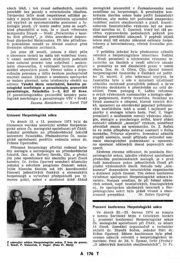 1973 - Ustavení herpetologické sekce, 1974 - Herpetologická konference Šerlišský Mlýn